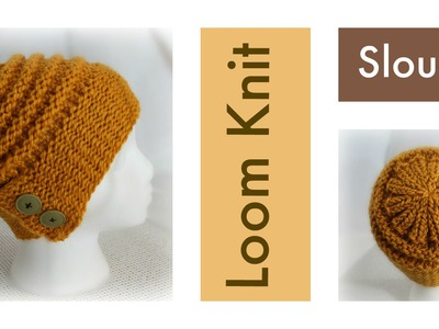 LOOM KNITTING Slouchy Hat with Flap-Over Brim