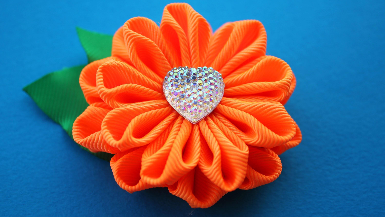 Новые цветы Канзаши Мастер Класс. DIY Kanzashi tutorial