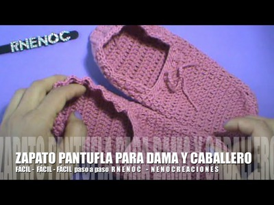 PANTUFLA DAMA CABALLERO, GANCHILLO CROCHET