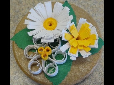 Quilling Fringer Tips. Easy quilled flower trio fridge magnet craft