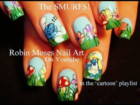 Smurf Nail Art - DIY NAILS Design tutorial