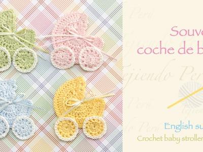 Souvenir coche para bebé tejido a crochet. Crochet baby stroller applique