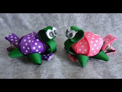 TINY 3D TURTLE Ribbon Sculpture Zoo Animal Girl's Hair Clip Bow DIY Free Tutorial by Lacey