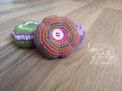 Tutorial Flor Crochet o Ganchillo con Botón Paso a Paso Flower (english subtitles)