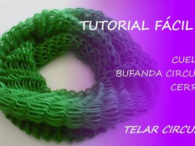 Tutorial telar circular - cuello. bufanda circular cerrada - Fácil DIY