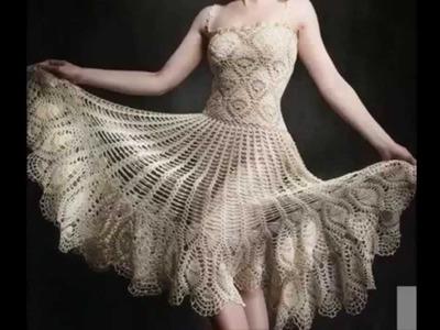 Vestido Motivos Piñas Tejido a Crochet