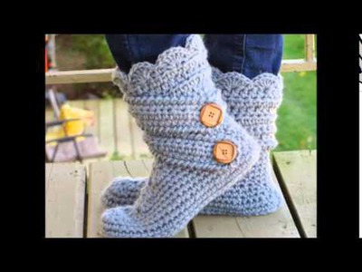 Woman's Slipper Boots Crochet Pattern, Classic Snow Boots