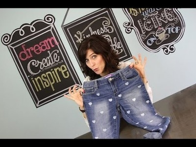 DIY Heart Stencil Jeans   ShowMeCute