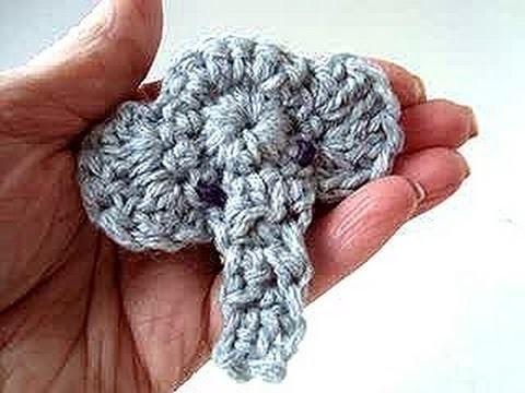 ELEPHANT APPLIQUE, crochet pattern, video tutorial free pattern