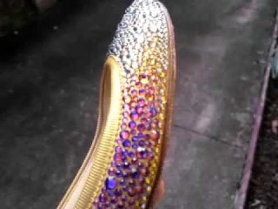 Louboutin flats DIY strass gold volcano crystal