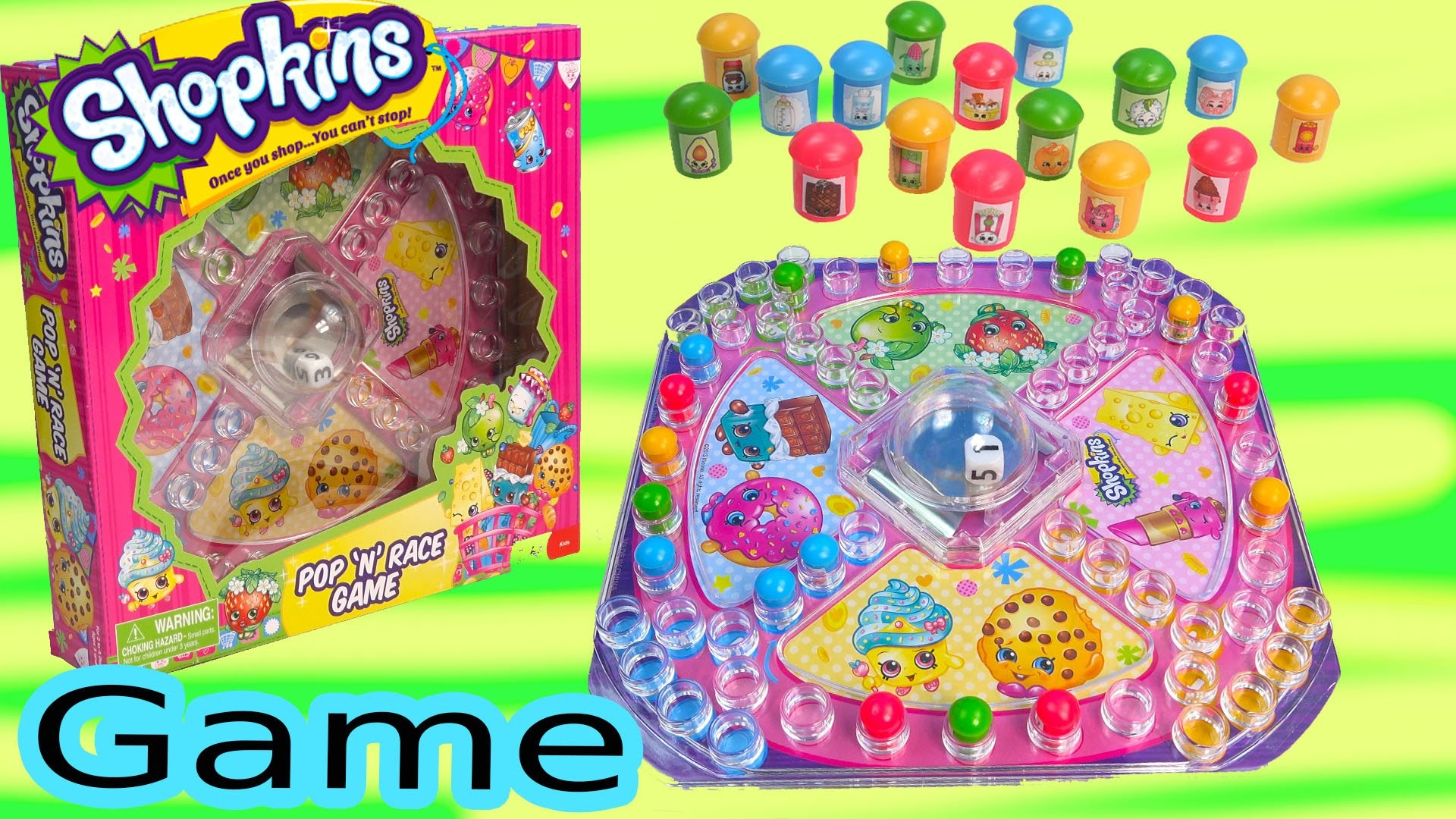 Shopkins Season 1 & 2 Pop N Race Family Fun Game Custom DIY Players Simple Craft Toy Unboxing