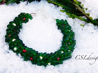 Christmas wreath beaded kumihimo bracelet | Christmas
