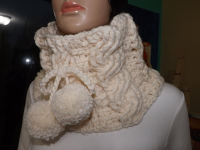 Crochet Cable Cowl or Neckwarmer.