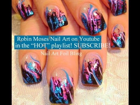 Nail Art Tutorial | DIY Pink and Blue Foil on Black Tips | Diva Bling Design