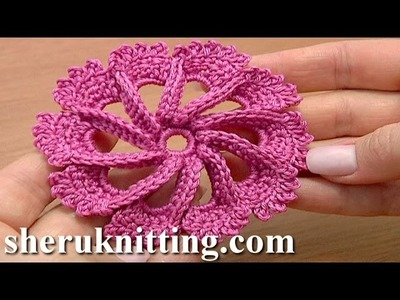 Crochet 3D Flower Twisted Petals How to Tutorial 50 Flor Crochet o Ganchillo Flower