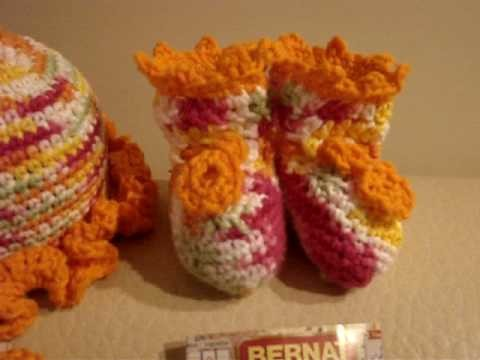 Crochet Baby set - colorful hat, bib and booties
