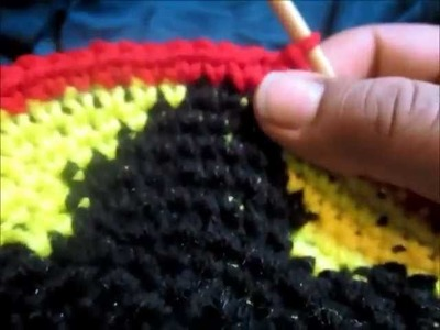 Crochet Hat Tutorial: Red Gold Green Body Of Hat : part 2
