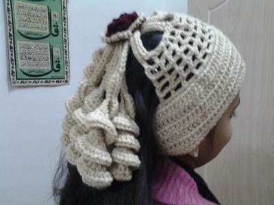 Crochet Spiral Pony tail Headband-2