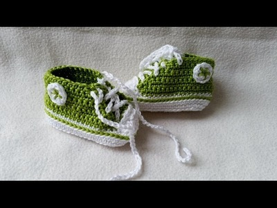 Crocheting baby shoes - Sneakers for babies with subtitles Part 4.5 by BerlinCrochet