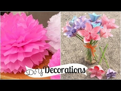 DIY Room Decorations (Tissue Paper Pompoms. Origami Flowers)