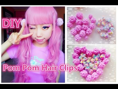 Easy Kawaii DIY -  How to Make Pom Poms without cardboard + Hair Clips ^^