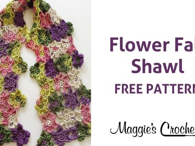 Flower Fall Shawl Free Crochet Pattern - Right Handed