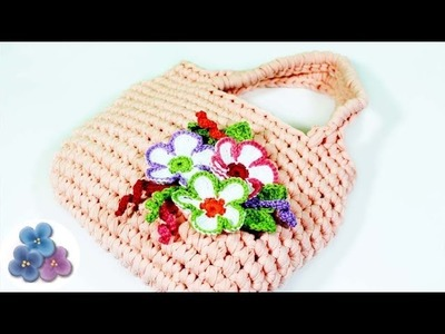 How to Crochet a Bag with Flowers Crochet Patterns DIY Purse Mathie