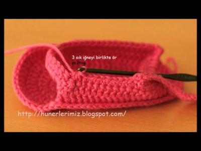 How to Crochet Baby Sandals - Bebeklere Sandalet Patik Yapılışı