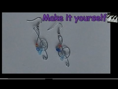 How to Make Treble Clef Music Earrings!  easy