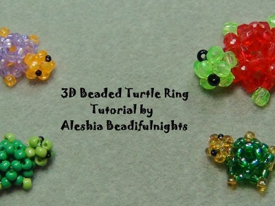 3D Beaded Turtle Ring Tutorial