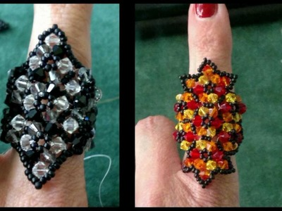 Beading4perfectionists : Beaded 4mm Swarovski with miyuki seedbeads ring tutorial