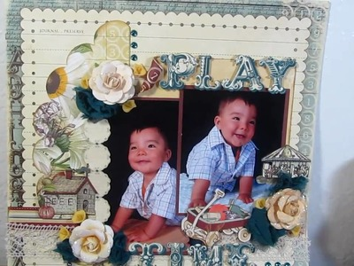 Play time  websters pages 12x12 scrapbook layout wonderfall paper