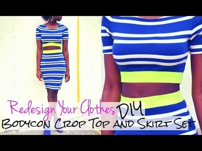 (RYC) 3:DIY Bodycon Crop Top and Skirt Set