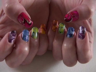 Water Marbling 5 Colors Spring- Special Nail Art Tutorial Yellow easy step by step DIY