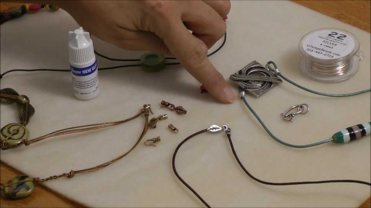 Antelope Beads - 3 Simple Ways to Finish Leather Cord Necklace Tutorial - Beginner AntelopeBeads.com