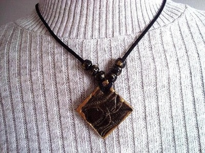 DIY HOW TO MAKE AN  Easy square leather pendant, from an old recycled belt,