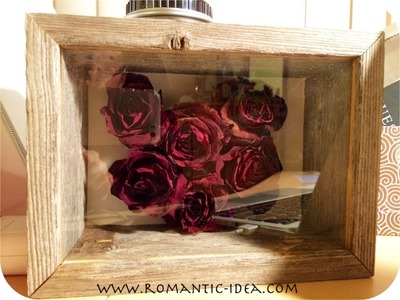 Dried Rose Heart 3D Craft in Shadow Box Frame, handmade valentine.christmas gift | Romantic-idea.com