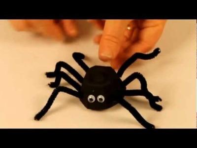Halloween craft ideas: spider craft with egg carton