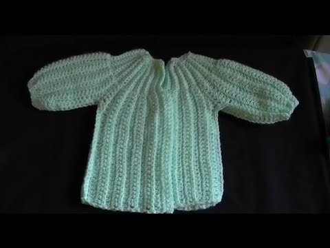 How to Crochet a  Baby Sweater.Cardigan - Cat's One Piece Wonder 4 of 5