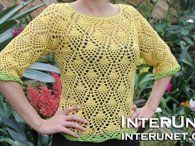 How to crochet a raglan sleeve sweater using pineapple stitch - Part 2 of 3