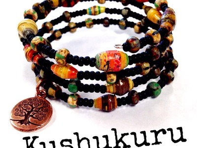 How to Make a Kushukuru Memory Wire Bracelet with The Bead