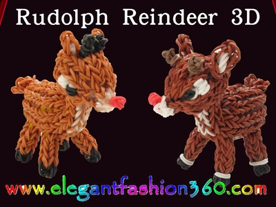 Rainbow Loom Reindeer.Rudolph 3D Charm. Christmas.Holiday - How to Loom Bands