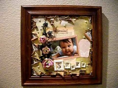 Scrapbook paper picture frame layout using Prima Flower by Marion Smith