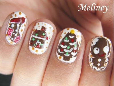 CHRISTMAS NAIL ART TUTORIAL | GINGERBREAD KITCHEN FOOD NAIL DESIGN WINTER HOLIDAY YUMMY TREAT DIY