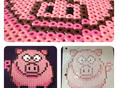 DIY: Pig (Melting Bead Pattern) ♡ Theeasydiy #Crafty
