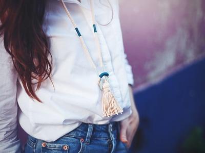 DIY Tassel Necklace. DIY Collier à gland