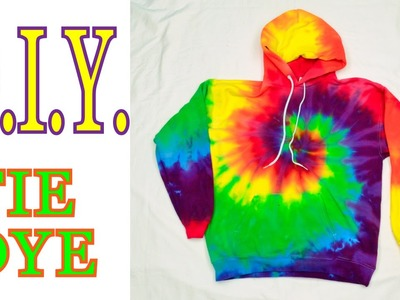 DIY Tie Dye Rainbow Spiral Hooded Sweatshirt [Tutorial]