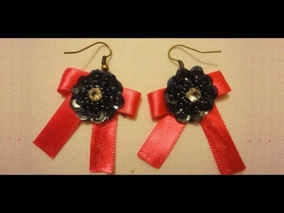 How To Make Earrings EASY. DIY Ribbon Earrings
