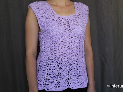 Japanese fan stitch women's top crochet pattern - crochet short sleeve lace sweater