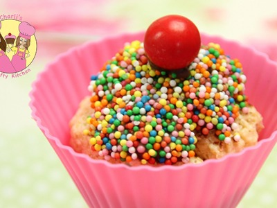 Make an easy CHEAT no bake rainbow sprinkle Cupcake - Kids birthday party treat!